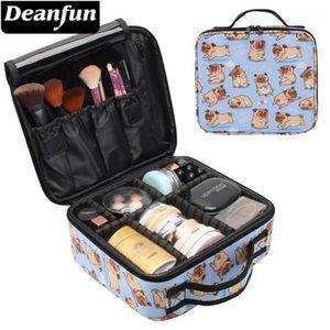 Deanfun Makeup Case Lovely Pug Waterproof Heart Adjustable Dividers Cosmetic Train Storage Bag Drop 160121