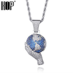 Hip Hop World In Your Hands Pendant Iced Out Bling Cubic Zircon + CZ Necklaces & Pendants For Men Jewelry