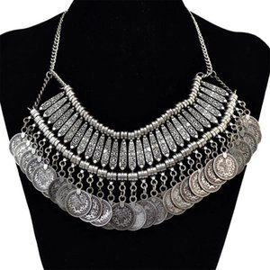 Vintage Gypsy Geometric Coin Tassel Bib Statement Choker Necklaces For Women Boho Turkish African Necklace Party Jewelry Gift Pendant