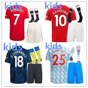 Kids 2021 2022 United Soccer Jersey Kit 21/22 Манчестер Роналду Рашфорд Футбольная футболка Юнайзы для мальчиков Униформа