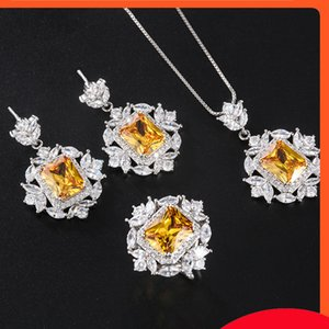 New women's color treasure popular imitation yellow diamond pendant temperament clavicle Chain necklace