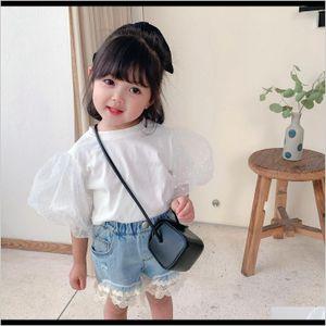 Tshirts Summer Girls T Baby Kids Tops Toddler Tee Shirt Children Streetwear Clothes Fashion Dot Mesh Puff Sleeve 1 To 7 Yrs Y200704 Rq 97Xww