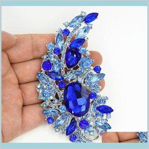 Pines Broches Joyería 4Dot4 Grandes cristales azules de lujo Boda de lujo Ramo de novia Broche Grande Elegante Mujeres Disfraces Brocha para fiesta S