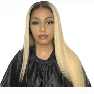 Blonde Ombre Human Hair Lace Wigs With Baby Hair Virgin Brazilian Straight 2 Tone Dark Roots 1B Ombre 613 Blonde Full Lace Wig