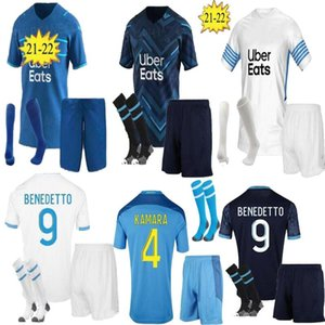 Kit adulte olympique de Marseille Jersey de football 2021 2022 om Maillot Foot Payet Thaufin Benedetto 21 22 Milik Football Shirt