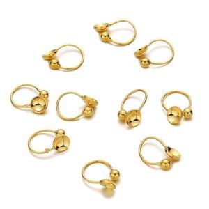 10PCS lot U Shape Stainless Steel Ear Clip No Pierced Blank Earrings Clips Fitting Cabochon Cameo DIY Earrings Jewelry Making 1100 Q2