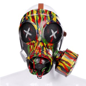 Camouflage Steampunk Gas Cosplay Gothic Punk Masquerade Full Face Carnival Party Halloween Masks & Eyewear