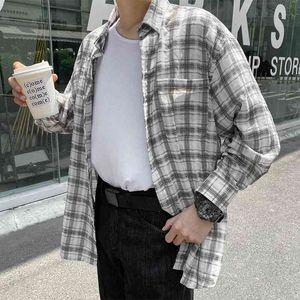 Men's Casual Shirts Spring Summer Linen Fashion Retro Plaid Men Streetwear Korean Loose Long Sleeve Mens M-XL WOWC