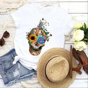 여성 그래픽 여자 셔츠 해바라기 눈 귀여운 꽃 얼굴 두개골 반팔 티셔츠 탑스 셔츠 의류 여성
