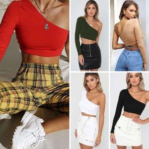 Casual Kleider 8701 Sommer Sexy Frauen Slant Shoulder Long Sve Navel Top 5 Farben 4