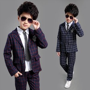 School Kids Plaid Suit England Style Boys Formal Wedding Blazer Birthday Brand Year Tuxedos, C008