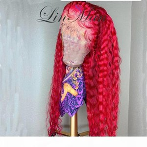 Lace Red Human Hair Wig Brazilian Remy Deep Curly Lace Front Wig Colorful 613 Wigs For Women