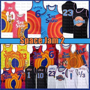 Space Jers 2 Tune Squad Basketball Jersey 6 James 10 Lola! TAZ 1/3 Tweety 7 R.runner Youth Mens Meanhe Lebron 2021 Blue Jerseys