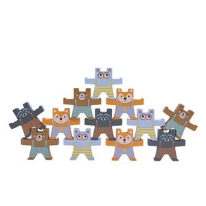 Blocks 12Pcs cartoon balance bear Montessori education wooden early learning exercise gift children toys kids Stacked games toy 1019