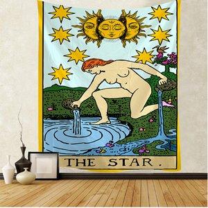 타로 카드 The Star Tapestry Mandaa Witchcraft Hippie Macrame Tapestry Boho 장식 WA 교수형 태피스 트리