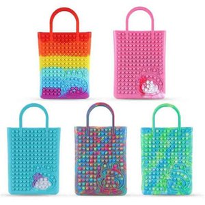 44*26.5CM Large Giant Push Pop Fidget Toys Handbag Rainbow Tie Dye Poppet Bubble Tote Bags Sensory Early Education Anti anxiety Finger Toys Silicone Storages G9356L5