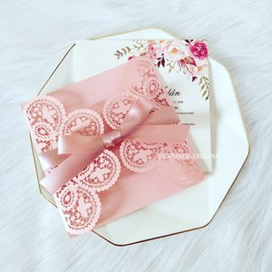 Elegant Pink Lace Wedding Invitation With Personalized Print And Bow DIY Laser Cut Gift Cards For Sweet 15 Birthday Party Invites