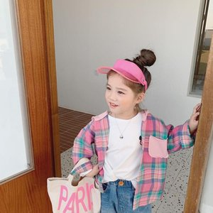 Shirts Spring 2021 Children Plaid Shirt Toddler Boy And Girl Cotton Blouses Hit Color Kids Long Sleeved Chidlren Leisure Top