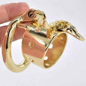 Gold Male Chastity Device Bull Skeleton Metal Cock Rings Steel BDSM Penis Cage Bondage Lock Belt Sex Toys Products