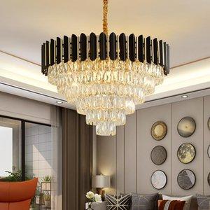 Chandeliers Modern Lustre Crystal Led Chandelier Lighting Black Lamp Living Dining Room Decor Drop Lights Hanging Luminaire
