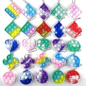 Push Its Pops Bubble Fidget Toys Simple Dimple Keychain Kids Decompression Toy Silicone Camo Rainbow Anti Stress Bubbles Board Popper Key Chain