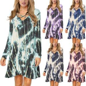 Women Casual Tie Dye Dress, Cross V Neck Long Sleeve Colorful Printed Pattern Mini Dress Dresses