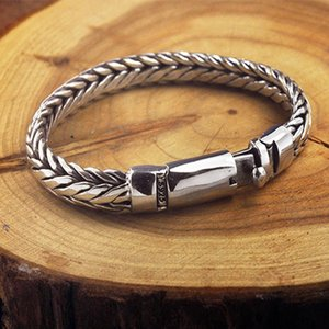 Bracelets Bocai Real Solid S925 Pure Hand Woven for Vintage Mighty Thai Silver Men Bracelet Boys Gifts