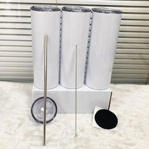 Dritto !!! Tumbloni dritti skinny a sublimazione da 20 once con bottiglie d'acqua in acciaio inox di paglia bevande doppie tazze di tazze isolate