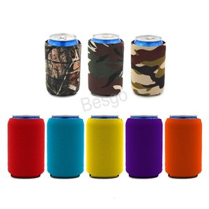 Neoprene Beer Can Cooler Solid Color Drink Beer Cup Cover Insulators Neoprene Beverage Beer Coolers Koozies Bottles Sleeve BH4616 TQQ