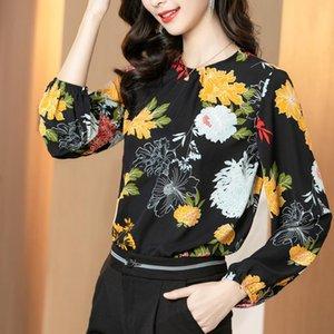 Women's Blouses & Shirts Summer O Collar Shirt Long Sleeve Tops Printed Blouse Girl Chiffon Casual Fashion Lady Loose