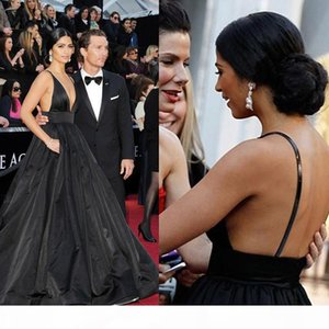Sexy Black Evening Dresses Ball Gown Backless Spaghetti V Neck Side Special Occasion Dresses Red Carpet Dresses Celebrity Gowns