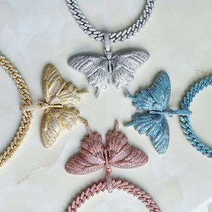 Hip Hop Prong Setting Cubic Zirconia Bling Out Cuban Link Chain Big Butterflys Pendants Necklaces Women Charm Jewelry Pendant