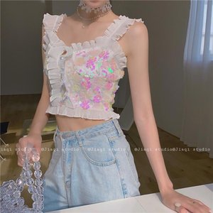 Women's Blouses & Shirts Colorful Fishscale Sequins Cute Tank Top Ruffles Sleeveless Women Shirt High Street Fashion Summer Blouse Chemise B