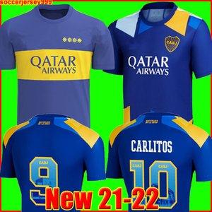 Boca Juniors Maillots de football 2021 2022 CARLITOS MARADONA TEVEZ DE ROSSI 21 22 maillot de foot de sport hommes + enfants kit ensembles uniformes domicile troisième 3e de la
