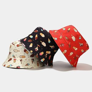 2021 new Fashion soft girl cute cartoon ice cream fisherman's student travel sunscreen basin hat