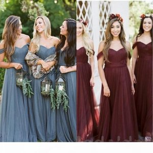 2019 Boho Blue Bridesmaid Dresses Off The Shoulder Country Wedding Guest Dress Plus Size Maid Of Honor Bridesmaids Dress