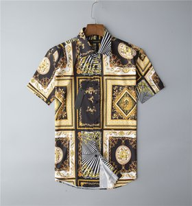 Plus Sizes 3XL Men's Casual vintage Shirts Short Sleeve Summer Hawaiian Shirt Skinny Fit Various Pattern Man Clothes CardiganBlack and gold Blouse
