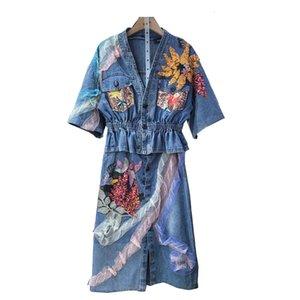 Two Piece Dress Vestido em jeans estilo europeu, moda finina, jaqueta com flores e lantejoulas, saia curta renda, conjunto de vestidos duas ZQKZ