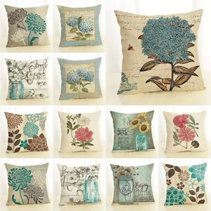 """18"""" Flower Pattern Printed Pillow Case Sofa Bedroom Office Linen Blend Cushion Cover Home Decoration Gifts"""