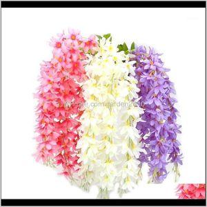 Decorative Flowers Wreaths Diy Home Decoration Wedding Party Decor 5 Headbunch Artificial Clove Fake Silk Wisteria Hanging Rattan Flow 8Sumh
