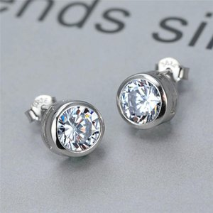 Stud Sterling Silver White Sapphire Lab Diamond Earrings For Women Wedding Jewelry Engagement 6 7 8mm Round Stone