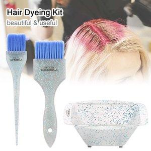 3pcs Pro Salon Coloring ing Kit Brush Set 2 Dye Brushes Mixing Bowl Tint Hair Tool Barber Accessories