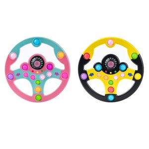 Children Simulation Driving Game Toy Puzzle Copilot Steering Wheel Push Bubble Color stitching Decompression Toys Tablet For Kids Learning Games 2color G61EF51