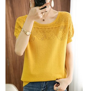 Summer Style 100% Pure Cotton Knitted T-shirt Women Short-Sleeved O-neck Hollow Vest Loose Wild Pullover Sweater Women's