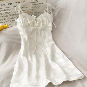 Kawaii Korean Women Dress Spaghetti Strap Casual A-Line Female Summer Cute Mini Dresses Sweet Daisy Vestidos Clothing