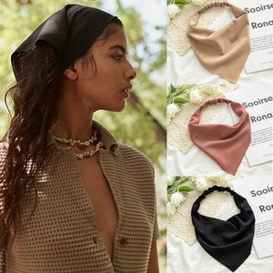 Woman Girls Solid Summer Head Scarf Chiffon Triangle Bandanas Women Elastic Hairband Hair Accessories Headwear Ornaments Enjoy special discounts!