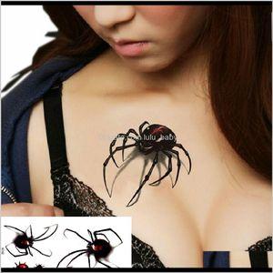 Wasserdichte Tätowierung 3d Black Spider Designs Flash Tatoo Fake 1Sheet Kleine Nackenkörperkunst SUWJC GCIWJ