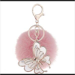 Keychains Real Rabbit Pom Poms Keychain Crystal Butterfly Charms Soft Fur Ball Gold Metal Key Chains Plush Car Keyring Hixim Lypmk
