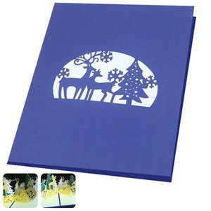 Greeting Cards 2pcs 3D Up Exquisite Merry Christmas Blessings Gift For Year Xmas Valentine' Day Party Decor