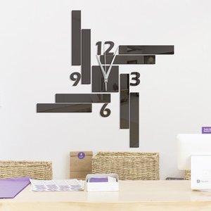 Wall Clocks Eco-friendly Mirror Clock Restaurant Square Geometric Stripes Arranged Home Decor